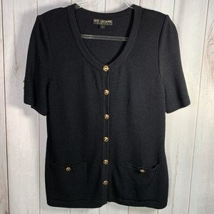 St. John Santana Knit Button Front Sweater Jacket